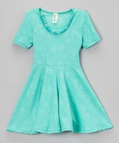Love this Mint Floral Necklace Skater Dress - Girls by Just Kids on #zulily! #zulilyfinds