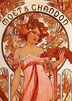 Alphonse Mucha - Moet & Chandon   Alphonse Mucha was a Czech Art Nouveau painter and decorative artist, known best for his distinct style. He produced many paintings, illustrations, advertisements, postcards, and designs.  Brought to you by masterpieceart.net/