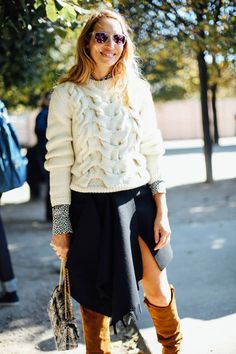 Chunky knit with a skirt and over-the-knee suede boots.