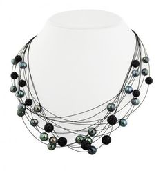 """Honora """"Pop Star"""" Sterling Silver 7-10mm Black Round Ringed Freshwater Cultured Pearl and 8mm Pave Crystal Bead Steel Wire Galaxyhttp://www.bengarelick.com/collections/honora-pearls/products/honora-pop-star-sterling-silver-7-10mm-black-round-ringed-freshwater-cultured-pearl-and-8mm-pave-crystal-bead-steel-wire-galaxy$315.00"""