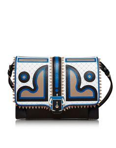 Paula Cademartori Caroline Black and Blue Leather Shoulder Bag at FORZIERI