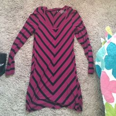 Soma t-shirt long sleeve dress Pink and black stripe t-shirt dress Soma Dresses Long Sleeve