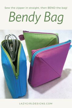 Never fear a zipper again. Sew the zipper in straight and flat, then bend the bag and finish! #LazyGirlDesigns #zipperpouch