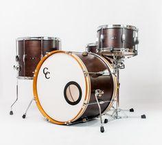 C&C Drums Europe - Vintage Drums - Player Date 2 - Walnut Satin - Kit (side) www.candcdrumseurope.com