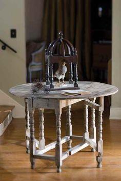 "Entry Vagabond Vintage Gateleg dropleaf table $272   Classic Gateleg Drop Leaf Table, Rustic Rrcycled Pine.  Folded dimensions:(45"" x 17"" x 31"")  Unfolded dimensions:(45"" diameter x 31""h)"