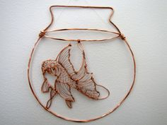 "Lisa Brunetta, Sculpture and Eco-Art - one of my more recent copper wire sculptures, made to hang on a wall or in a window. ""Fishbowl"", 2012"