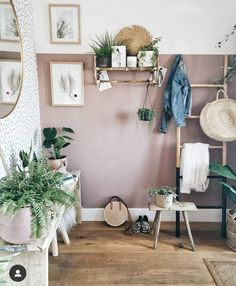 "Wall colour F&B Sulking Room Pink, Wallpaper ""Ella"" by Sandberg Bedroom Colors, Home Decor Bedroom, Living Room Decor, Wall Colors, House Colors, Pink Hallway, Hallway Designs, Hallway Ideas, Pink Room"