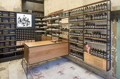 superfuture :: supernews :: new york: aesop store opening Kiosk Design, Retail Design, Store Design, Commercial Design, Commercial Interiors, Visual Merchandising, Aesop Store, Herbal Store, Pharmacy Design