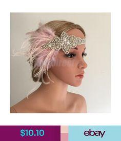Purple White Feather Headpiece Headband Vintage 1920s Downton Flapper Silver O94