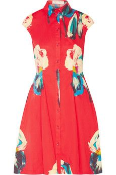Lela Rose Floral-print stretch-cotton poplin shirt dress | THE OUTNET