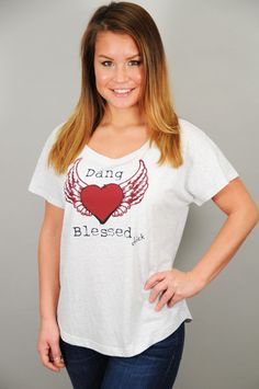 "TOPS > Tees > ""Dang Blessed"" Off-The-Shoulder Heathered Tee"