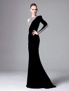 Elegant formal color-block black & silver asymmetrical gown❣ Zuhair Murad • fashiondecent.com