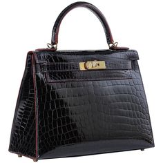 Kelly Sellier 28 cm CONTOUR RED Bleu Marine Shiny Nilo Croc with gold hardware