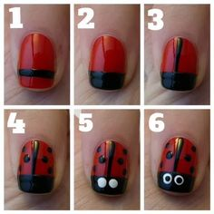 Here is a simple lady bug nail design for you or your little girl.