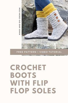 These crochet sweater boots with flip flop soles from Make Crochet Sandals, Crochet Boots, Crochet Slippers, Crotchet, Crochet Baby, Free Crochet, Bohemian Crochet Patterns, Crochet Flip Flops, Make And Do Crew