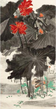 """Les 10 oeuvres d'art chinoises les plus chères du monde - """"Lotus and Mandarin Ducks"""" de Zhang Daqian - estimé à 17,22 millions d'euros"""