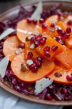 persimmon, butternut squash + pomegranate salad