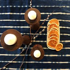 Halifax candle holders on tabletop
