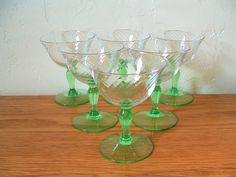 Vintage Optic Swirl Champagne Glasses Set of 6 Green Stem Cordial Sherbet Depression