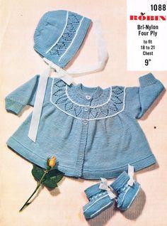 Lace yoke baby matinee coat vintage knitting pattern by Ellisadine