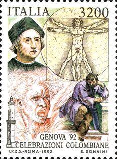 """1992 - Celebrazioni Colombiane nel 5° Centenario della scoperta dell'America - ritratto di Colombo assieme a quello di Michelangelo e al """"Corpo Umano"""" di Leonardo da Vinci e """"la Furia"""" di Michelangelo"""
