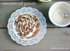 Cinnamon Roll Granola Recipe: Homemade granola recipe packed with cinnamon and vanilla and drizzled with a traditional cinnamon roll glaze.