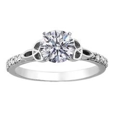 Engagement Ring - Round Diamond Celtic Knot Engagement Ring with Diamond Accents in 14K White Gold - ES643BR