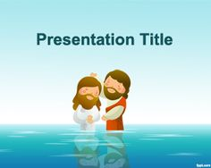 Free Baptism Templates for PowerPoint background with Jesus of Nazareth and John the Baptist