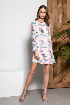 Designed with a tailored look in mind and a soft padded shoulder, the ISABELLA dress is the picture of youth and modernity. This abstract print is the perfect day dress. Event Dresses, Day Dresses, Dresses For Sale, Dress Outfits, Dress Up, Caroline Kilkenny, Print Shift, Floral Maxi Dress, Striped Tee