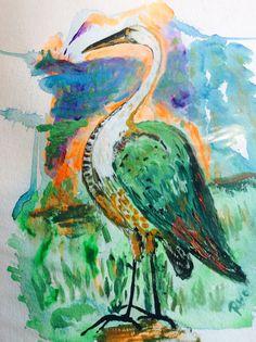 White Necked Heron by RobertsOriginalArt on Etsy People Of The World, Heron, Bird Art, Watercolor Tattoo, Birds, Prints, Etsy, Painting, Herons