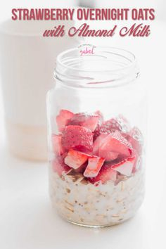 Make a jar of strawberry vanilla overnight oats with almond milk for busy mornings Just mix up rolled oats the night before refrigerate and eat in the morning breakfast oatmeal almondmilk nondairy dairyfreerecipe breakfastrecipe # Overnight Oats Almond Milk, Low Calorie Overnight Oats, Dairy Free Overnight Oats, Oatmeal With Almond Milk, Strawberry Overnight Oats, Overnight Oats In A Jar, Chocolate Overnight Oats, Strawberry Oatmeal Smoothie, Almond Milk