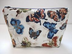 Make Up Bag Butterfly Fabric Zipper Pouch Tissue by PBJKreations