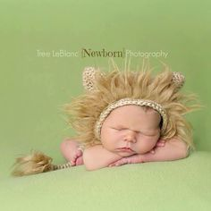 Newborn Lion Hat and Tail - Newborn Photography Prop - Newborn Hat - Neutral - Animal Inspired Prop - Newborn Bonnet - Prop Set by EastCoastStitches on Etsy https://www.etsy.com/listing/227153368/newborn-lion-hat-and-tail-newborn