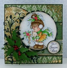 Christmas card using Wee Stamps 'Holly' from Magnolia-licious by Norma Lee of From My Craft Room./ http://www.magnoliastamps.us/ / #crafts #cards