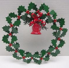 "Dept 56 VIntage Wreath Green Metal Holly & Berry With Wire Red Bells 10"" Unique! #vintage #dept56 #wreath"