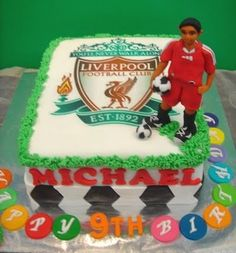 Liverpool Cake for Michael Liverpool Cake, Liverpool Football Club, Football Themed Cakes, Soccer Cake, Sports Food, Happy Birthday, Birthday Cake, Cake Tutorial, Main Courses