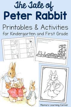 Add this fun packet of printables to your Tale of Peter Rabbit week! Activities geared towards Kindergarten-First Graders.