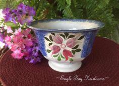 1850s Spatterware Footed Paneled Waste Bowl Blue Sponge & Tulip Buds Rare Design #ArtsCraftsMissionStyle