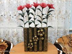 Поделка изделие Моделирование конструирование Объемный пейп арт и розы из капрона фото 1