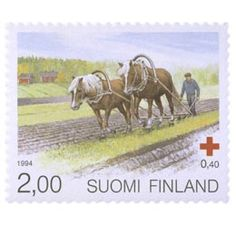 Postimerkki: Suomenhevonen - Työhevonen | Suomen postimerkit Postage Stamp Collection, Koti, Red Cross, Stamp Collecting, Postage Stamps, Finland, Retro Vintage, Nostalgia, Horses
