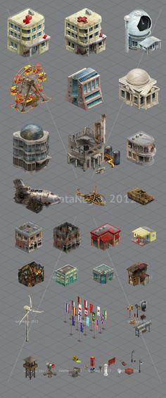 2D buildings and things for game by Larisa Kalinovskaya, via Behance