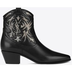 Saint Laurent Rock 40 Cowboy Ankle Boot ($1,195) ❤ liked on Polyvore featuring shoes, boots, ankle booties, ysl, ankle cowboy boots, cowboy boots, short western boots, cowgirl boots and western bootie
