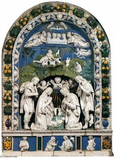 Luca di Andrea della Robbia, Adoration of the Shepherds, glazed terracotta Christian Stories, Christian Images, Christian Art, Renaissance Kunst, Italian Renaissance, Catholic Art, Religious Art, Italian Sculptors, Madonna And Child