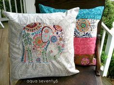 Aqua Seventy6: Elephant Applique and Patchwork Throw Pillows