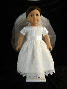 First Communion, Wedding, or Flower Girl  Dress for 18 Inch Doll and American Girl. $30.00, via Etsy.