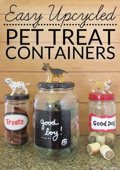 Easy Upcycled Pet Treat Container - Making craft projects from recycled materials is a great way to save on craft costs while reducing waste. These adorable upcycled pet treat jars reuse glass jars from your kitchen.