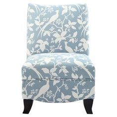 Accent chair with an organic motif.    Product: ChairConstruction Material: Hardwood, high density foam and fabricColor: Robbins egg blue and espressoDimensions: 35 H x 24 W x 27 D