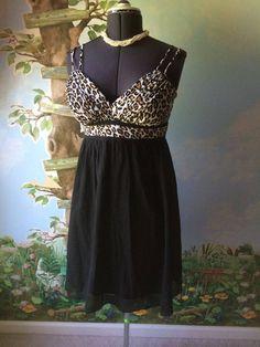 OC OC Women's Black Animal Print  Cotton Dress SZ 10 #CoCo #EmpireWaist #Casual