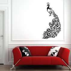 Ornate Peacock with Feathers Wall Sticker Decal Transfer Stencil Colour Options | eBay