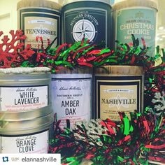 """#Repost @elannashville  We are now proudly carrying @southernfireflycandle ! Locally made in small batches these soy candles make the perfect gift. Come check out the """"Nashville"""" it's one of our favorites!  #elannashville #southernfireflycandle #shoplocal #candle #christmas #giftideas #nashville"""